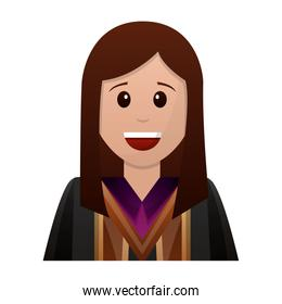 young woman graduated avatar character