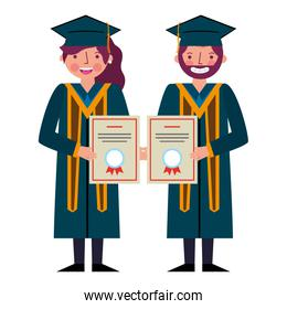 smiling graduate man and woman with certificates