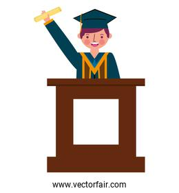graduate man with diploma in the podium