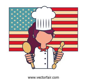 restaurant female chef with flag of USA and cookware