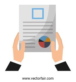 business man hand holding paper documents report