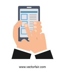hand smartphone document select options
