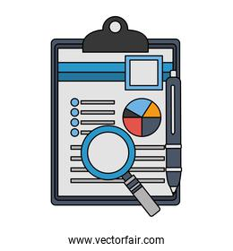 clipboard paper information graph magnifying glass and pen