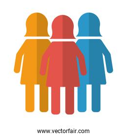 business women team work silhouettes isolated icon