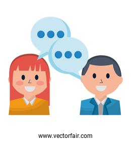 business man and woman discussing speech bubble