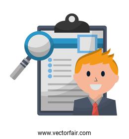 businessman and office clipboard magnifying glass
