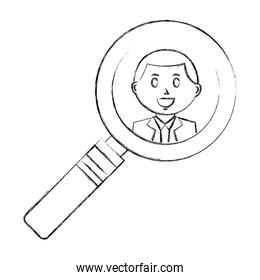 magnifying glass with businessman isolated icon