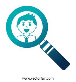 business man in magnifying glass
