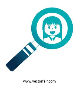 business woman in magnifying glass