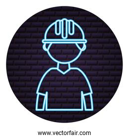 construction worker neon on brick wall