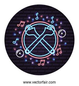 crossed adjustable wrenches brick wall neon design