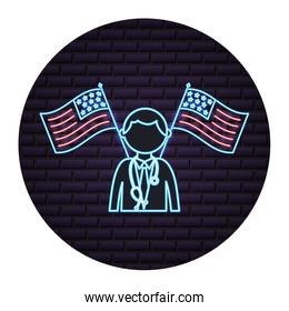 doctor crossed american flag labor day neon