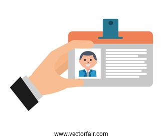 hand with badge ID document isolated icon