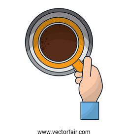top view hand with coffee cup