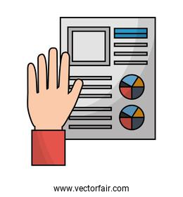 hand with business paper document diagrams