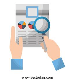 hand holding paper documents report magnifying glass