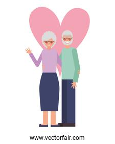 cute grandparents with heart isolated icon