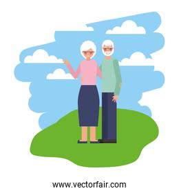 cute grandparents in landscape isolated icon