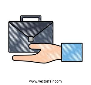 hand holding briefcase document