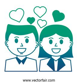 business people with hearts icon