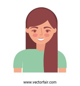 young woman character with long hair