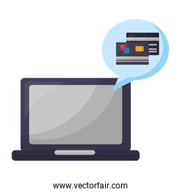 laptop computer with credit cards