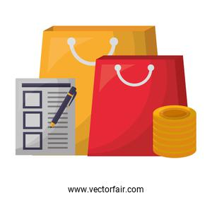shopping bags with checklist and coins
