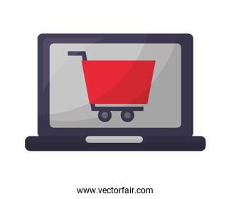 laptop computer with shopping cart