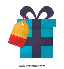 gift box with commercial tag