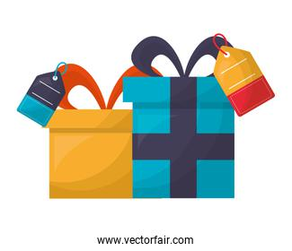 gifts boxes with commercial tags