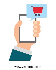 hand holding smartphone shopping cart online