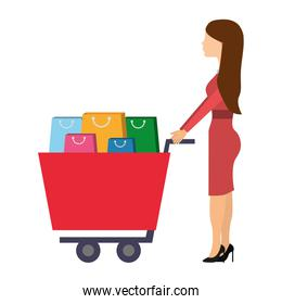 woman with shopping cart full paper bags