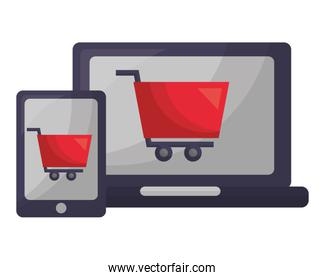 set tablet device with cart shopping isolated icon