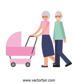 cute grandparents with baby avatar character