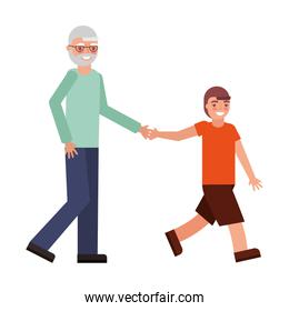 cute grandfather with grandson avatar character