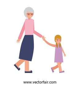 cute grandmother with granddaughter avatar character