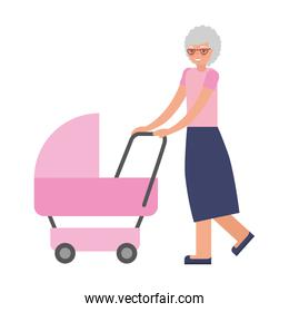 cute grandmother with pink baby cart
