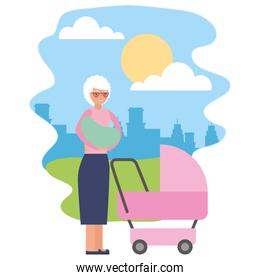 cute grandmother with baby cart in landscape