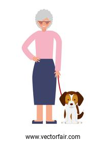 cute grandmother with mascot dog