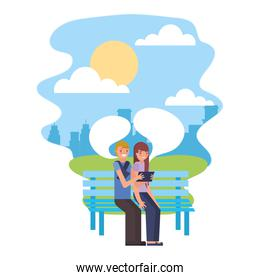 cute couple with chair park and speech bubble in landscape