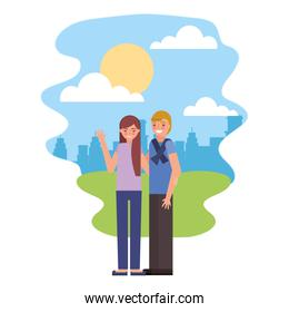 cute couple in landscape avatar character