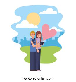 cute couple with heart in landscape