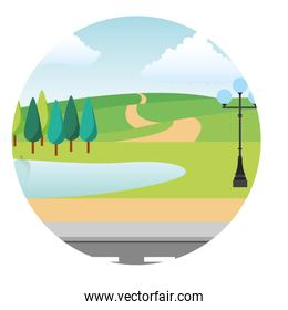 park scene with lamp isolated icon