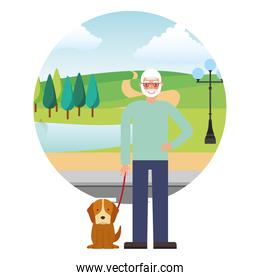 cute grandfather with dog mascot in landscape