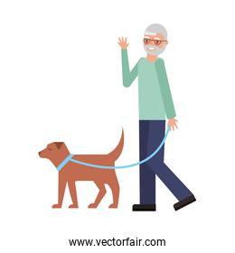 cute grandfather with dog mascot