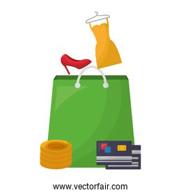 shopping bag commercial with clothes and accessories