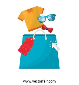 shopping bag with clothes and accessories
