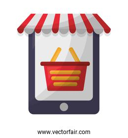tablet device with parasol and shopping basket