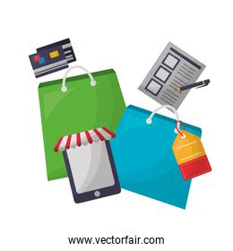 shopping bags with tablet device and objects
