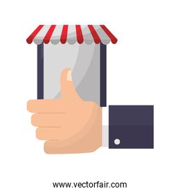 tablet device with parasol and hand like